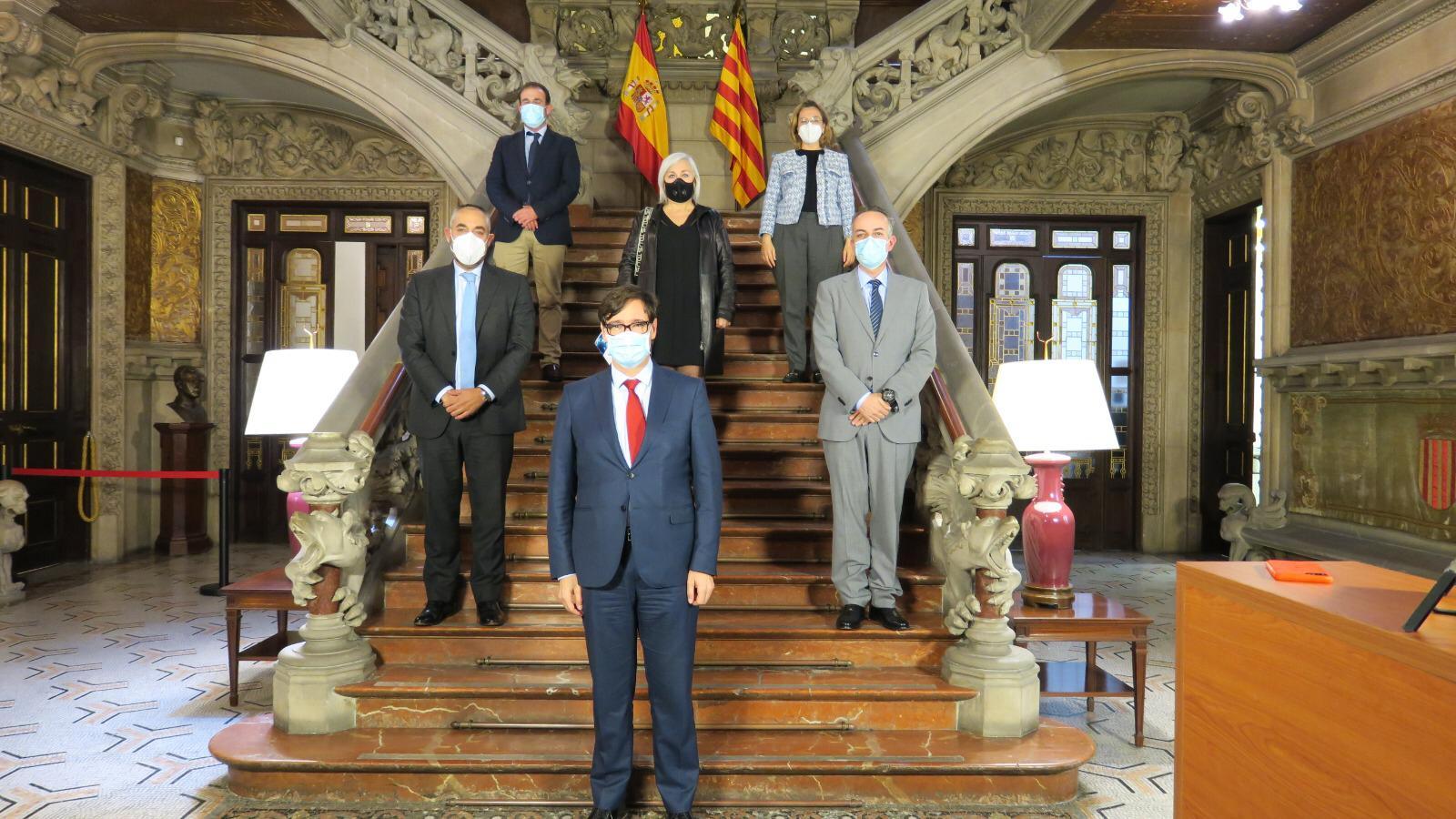 AEDACS con Salvador Illa Ministro de Sanidad. Propuestas para frenar los contagios por COVID19 en Barcelona. Delegación del Gobierno en Barcelona